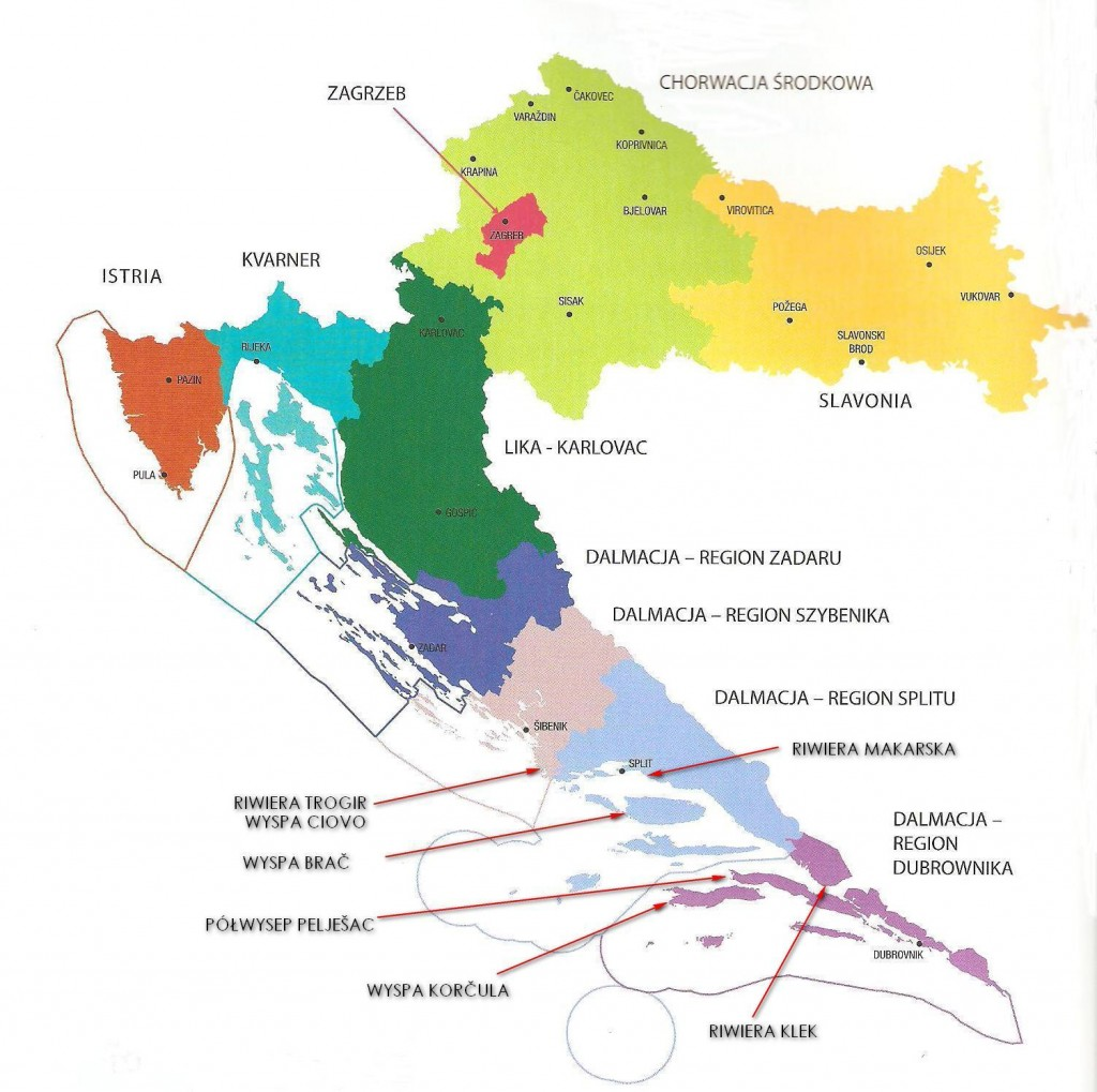regiony tur. Chorwacji